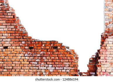 old destroyed brick wall of the building with a white background