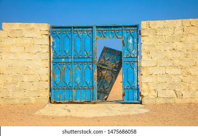 Old and destroyed door, desert oman