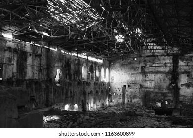 Old destroyed factory building of the 19th century, abandoned building from the inside