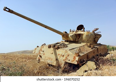 old destroyed tank left over from the Six Day War in Israel