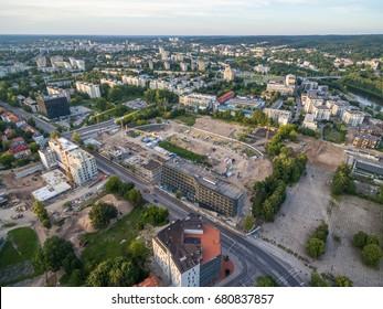 Old and Destroyed Zalgiris Stadium in Vilnius, Lithuania.