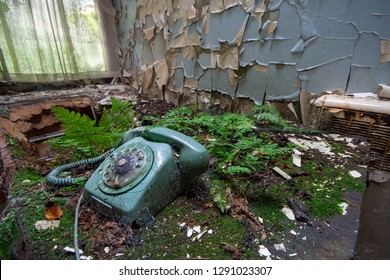 Old dial phone and nature taking over at an abandoned and derelict lunatic asylum/hospital (now demolished), Cane Hill, Coulsdon, Surrey, England, UK