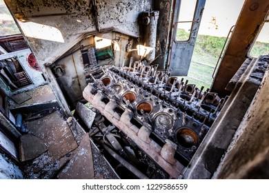Old diesel  engine in railbus