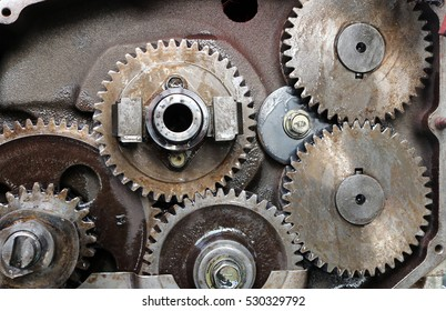 Old diesel engine and spare parts.