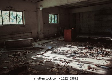 old dilapidated destroyed factory or prison building abandoned by people