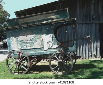 old dilapidated medicine show wagon