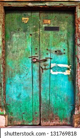 Old dilapidated wooden door. Rajasthan, India, Asia. Background