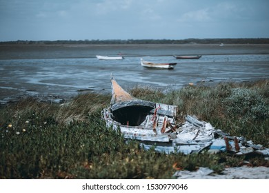 An old dilapidated wooden hull with metal frames of a fishing boat on the grass of the river bank with a horizon, waterscape, and more three boats behind in a defocused background, Alcochete, Portugal