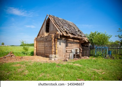 Old dilapidated wooden shed. Country Life.