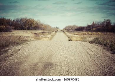 An old dirt road across the prairies