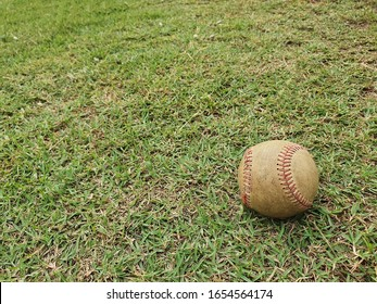 The old, dirty baseball ball has been forgotten on the green lawn in the baseball field.