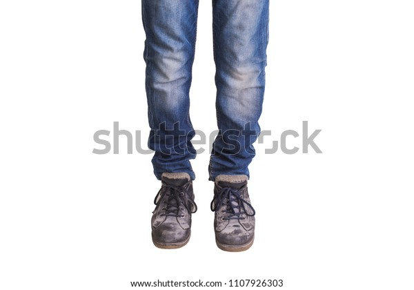 Old Dirty Boots New Jeans Isolated Stock Photo (Edit Now