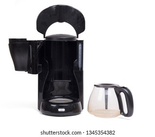 Old dirty coffee machine, isolated on a white background