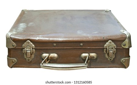 Old dirty and dusty suitcase isolated on a white background
