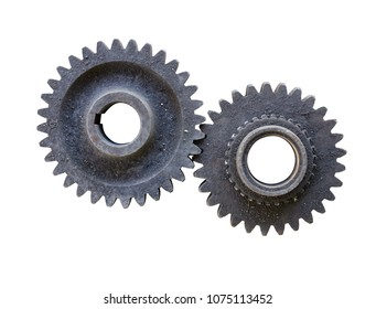 old dirty gear wheels isolated on white background with clipping path included