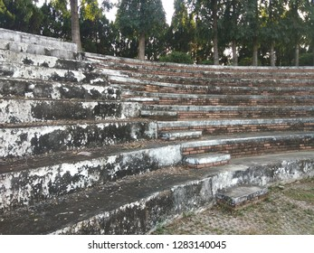 The old and dirty grandstand which has not been used for a long time.