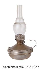 old dirty kerosene lamp isolated on white background