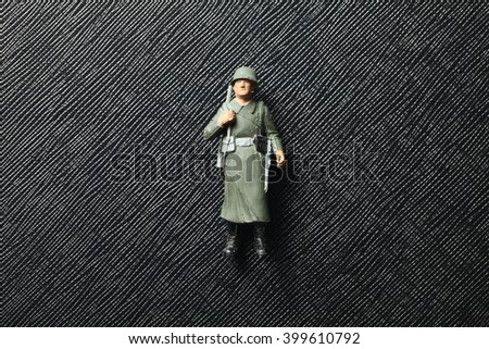 Old Dirty Plastic Soldier Miniature Model Stock Photo (Edit