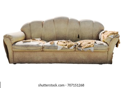 old dirty ripped sofa isolated on white background
