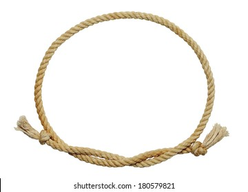 Old Dirty Rope Oval Frame Isolated on White Background.