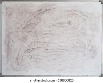 Old dirty whiteboard for office with traces of black stains