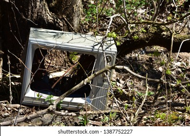 Old discarded Television set in the woods rotting decaying and polluting in nature.