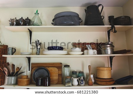 Old Dishes On Shelves Vintage Kitchen Stock Photo Edit Now