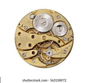 Old and dismantled clockwork mechanism on white background