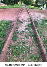 Old disused abandoned trail railtrack.