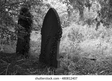Old disused Graveyard in Black and White