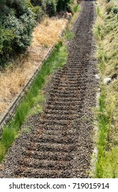 old disused railroad, with massive but without rails, in Liguria, Italy