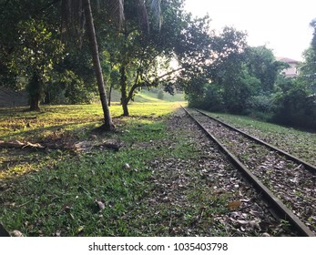 Old disused railway track showing iron track still intact for preservation to past history.