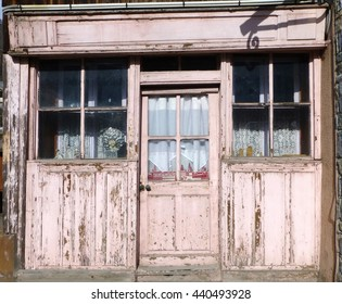 Old disused shop in village in French Alps