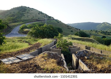 Old ditch near the hill in Golan Heights in Israel