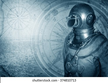 Old diver and nautical theme grunge background