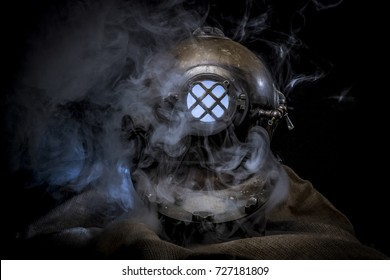 Old Diving helmet and smoke