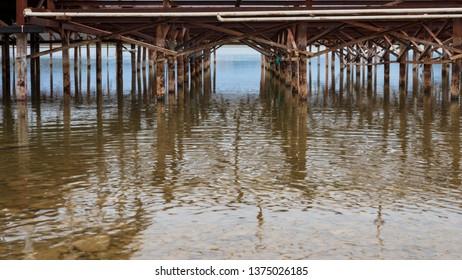 Old dock pier and footings