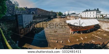 old dockyard dry graving dock finnish stock photo edit now