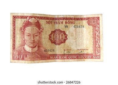 Old Dong bills from Vietnam isolated on white.