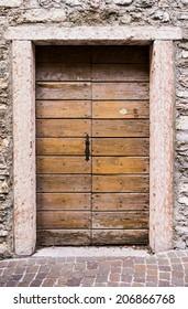 Old door. Antique wooden door