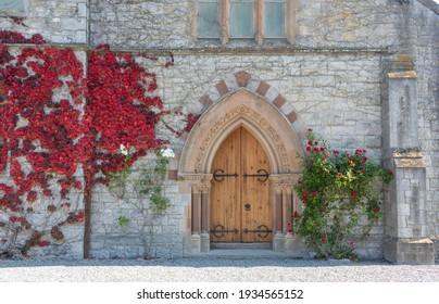 Old door in a church. Howth. Ireland