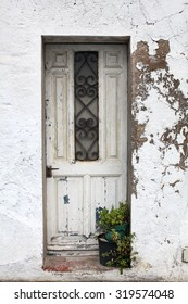 The Old Door with Cracked Paint