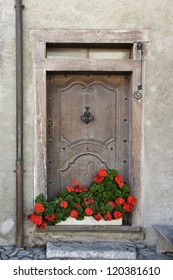 old door in a house in the village of Yvoire Haute Savoie France