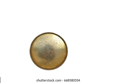 Old door knob made of brass on white background