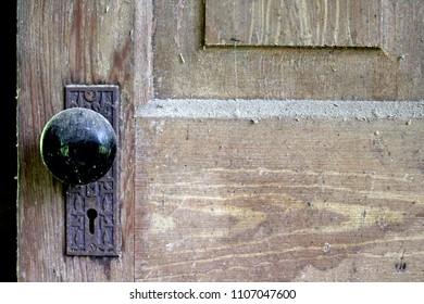 old door knob on dusty door