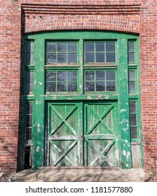 Old door leading to the machinist's shop at Fort Hancock in Highlands, New Jersey.