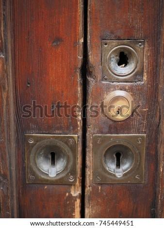 Old Door Many Keyholes Stock Photo Edit Now 745449451 Shutterstock