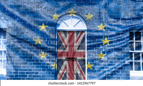 Old Door on Brick House Fine Art, Brexit Project Door Blended with Union Jack Flag Brick Wall Blended with European Union Flag, Double Exposure Horizontal Photography