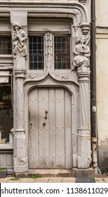 Old Door on The House of Adam and Eve or the Tree of Life, in Angers , France