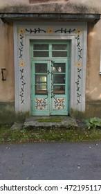 Old door with pictures